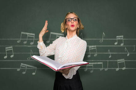 Someone singing in front of a blackboard of musical notes
