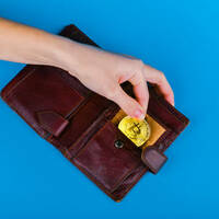 Someone lifting bitcoin out of a wallet