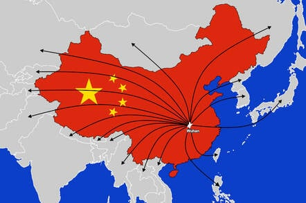 A map of China showing location of Wuhan