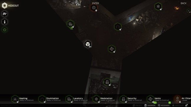 The hideout is a horrible misery hole before upgrades