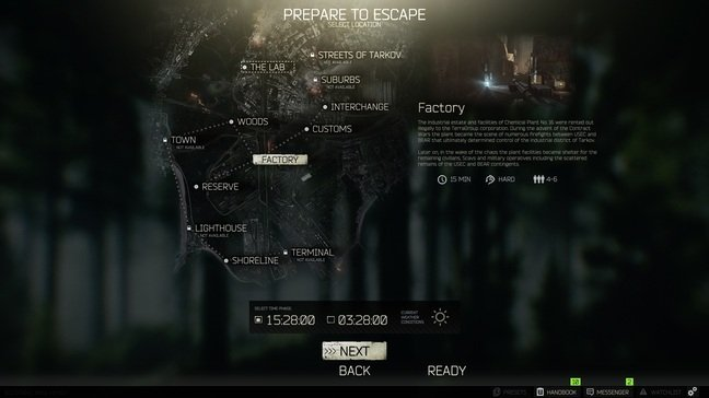 The map select screen – some are still under development and Labs requires a key card found in a raid to enter
