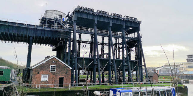 If the Anderton Boat Lift looks like two structures in one, that's because it is