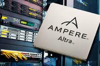 Ampere Altra processor laid over a server rack