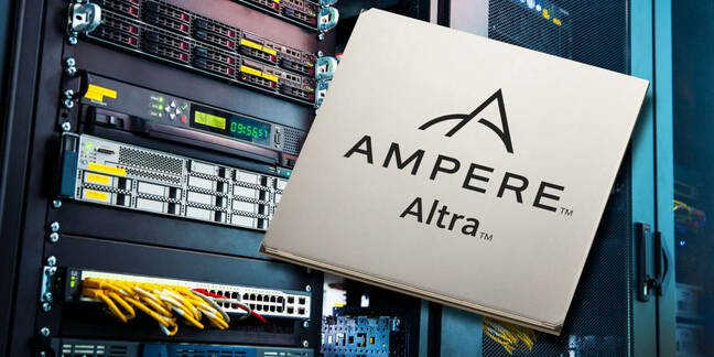 Ampere Altra processor laid over a server rack