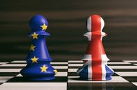 UK and EU flags as chess pieces