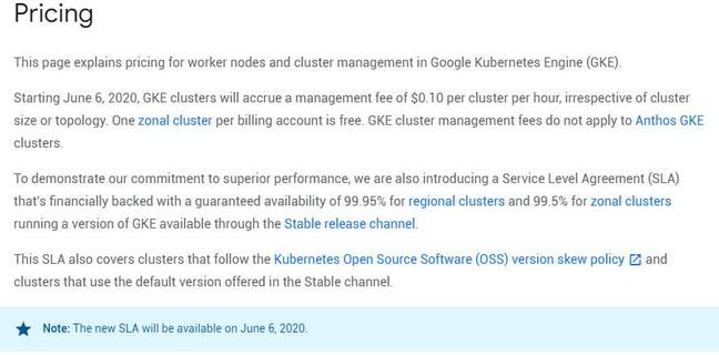 The new pricing for Google Kubernetes Engine, including management fee