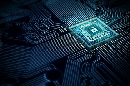 An image of a secured computer chip