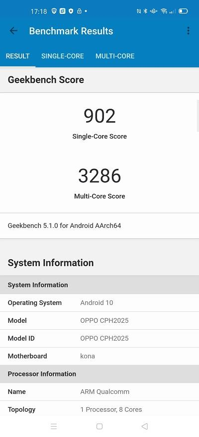 Geekbench score for Find X2 Pro