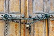 A locked and chained door
