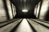 Rails in solitary confinement prison