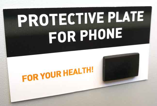 Protective plate for phone. Photo by Alistair Dabbs March 2020.
