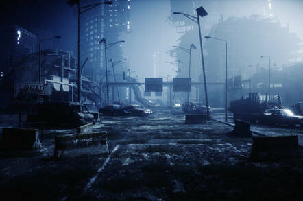 A post-apocalyptic scene of a city in ruins