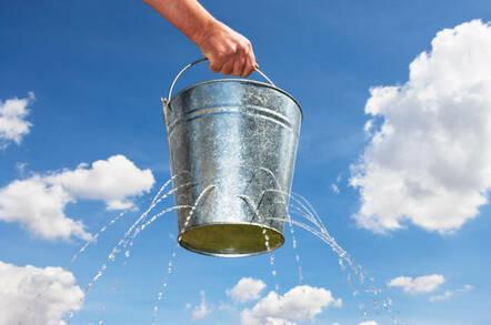 A bucket leaking water