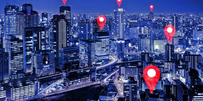 Illustration of location tracking in a city