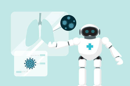 Illustration of an AI-powered robot doctor diagnosing someone