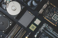 A range of computer parts, from processors to SSDs