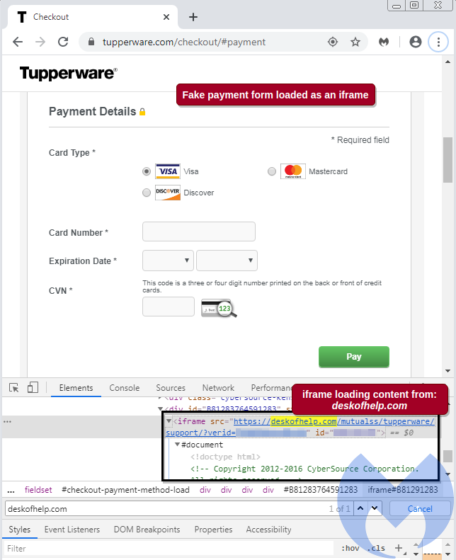 Tupperware skimmer iframe. Screenshot: Malwarebytes