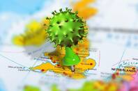 Map of UK with Coronavirus pin stuck in London