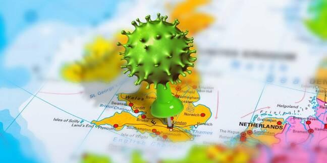 Map of UK with Coronavirus pin stuck in London