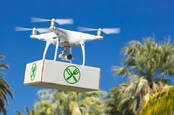 A drone delivery a food package