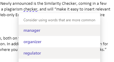 "Microsoft Editor considers ""checker"" an uncommon word"