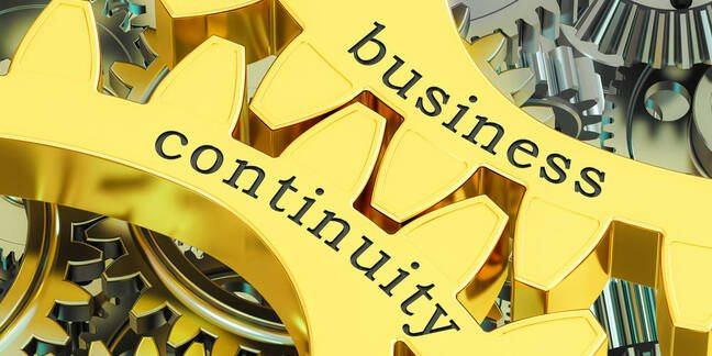 Illustration of business continuity involving cogs and gears