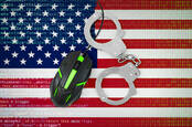 Illustration of US flag, handcuffs, a computer mouse and code