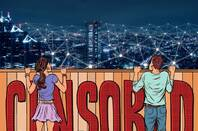 An illustration of two young people looking over a fence at the internet, with the word 'censored' on the fence