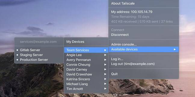 Tailscale running on a Mac