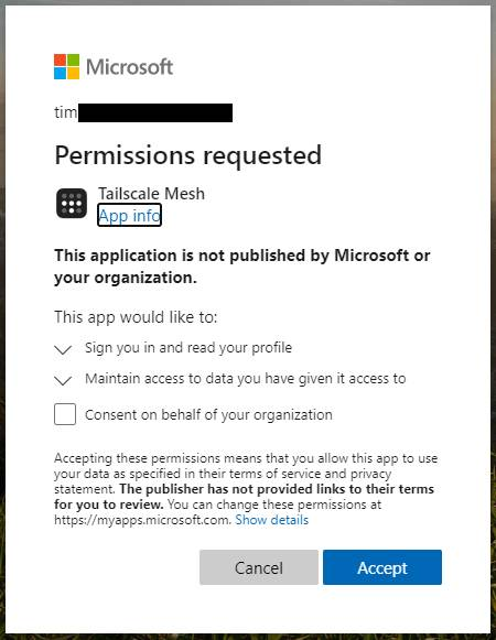 Signing into Tailscale with Azure AD presents this dialog