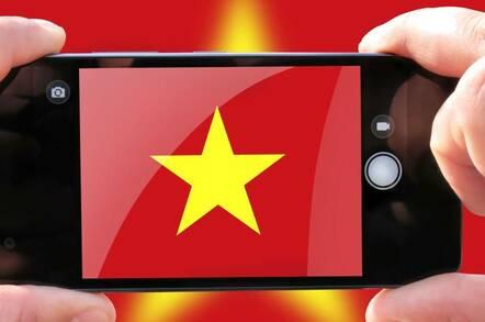 Vietnam flag on smartphone
