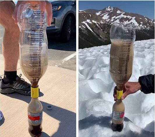 Comparing foam sizes of Mentos and Diet Coke experiments at different altitudes
