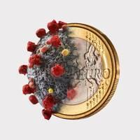 Euro coin and coronavirus