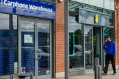Carphone warehouse with iron shutters closed