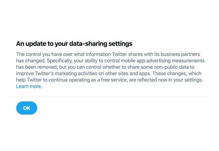 Twitter notification about data-sharing