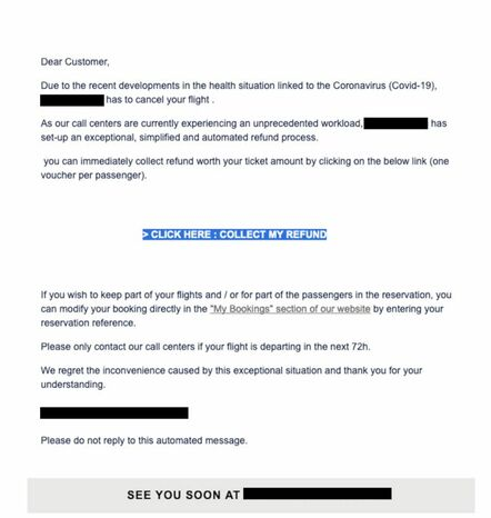 Flight scam email seen by Mimecast