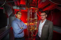 "Dr Henry Yang and Professor Andrew Dzurak: ""hot qubits"" are a game-changer for quantum computing development. Credit: Paul Henderson-Kelly"
