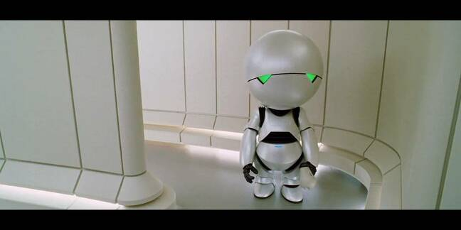 marvin the android in the 2005 HHGTTG movie
