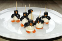 penguin olive hors d'oeuvres on cocktail sticks