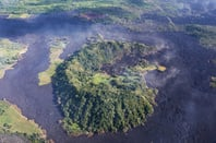 Aerial view of lava flows from the eruption of Kīlauea in Hawaii, May 2018