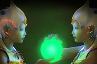 cassandra and her twin android - looking into a glowing glass orb