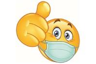 Thumb up emoji wearing mask