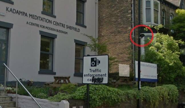 ANPR camera just off Hunter's Bar Roundabout in Sheffield. Note the 'traffic enforcement' warning sign