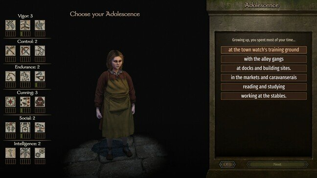 Character creation is reminiscent of Warband's, though you can see the effects of each choice