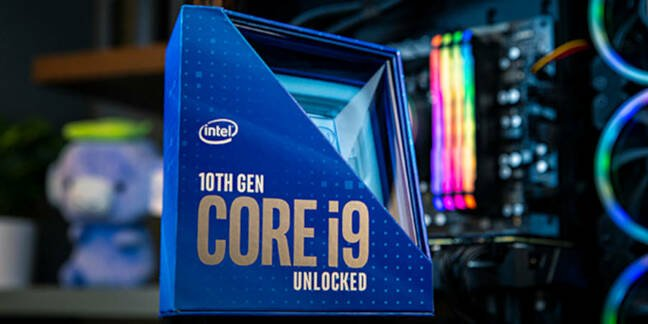 An Intel 10th Gen Core i9 processor in a box