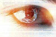 An eye superimposed over code