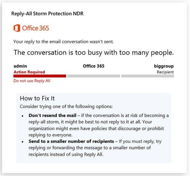 Microsoft Reply All storm protection