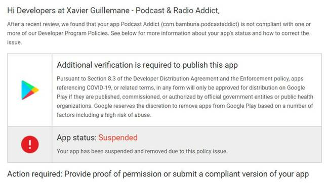 Google's notification to Podcast Addict, posted on Facebook by the developer