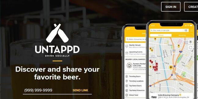 Untappd beer app homepage