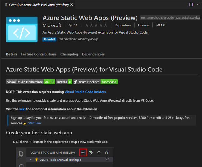 The Visual Studio Code extension for static web sites